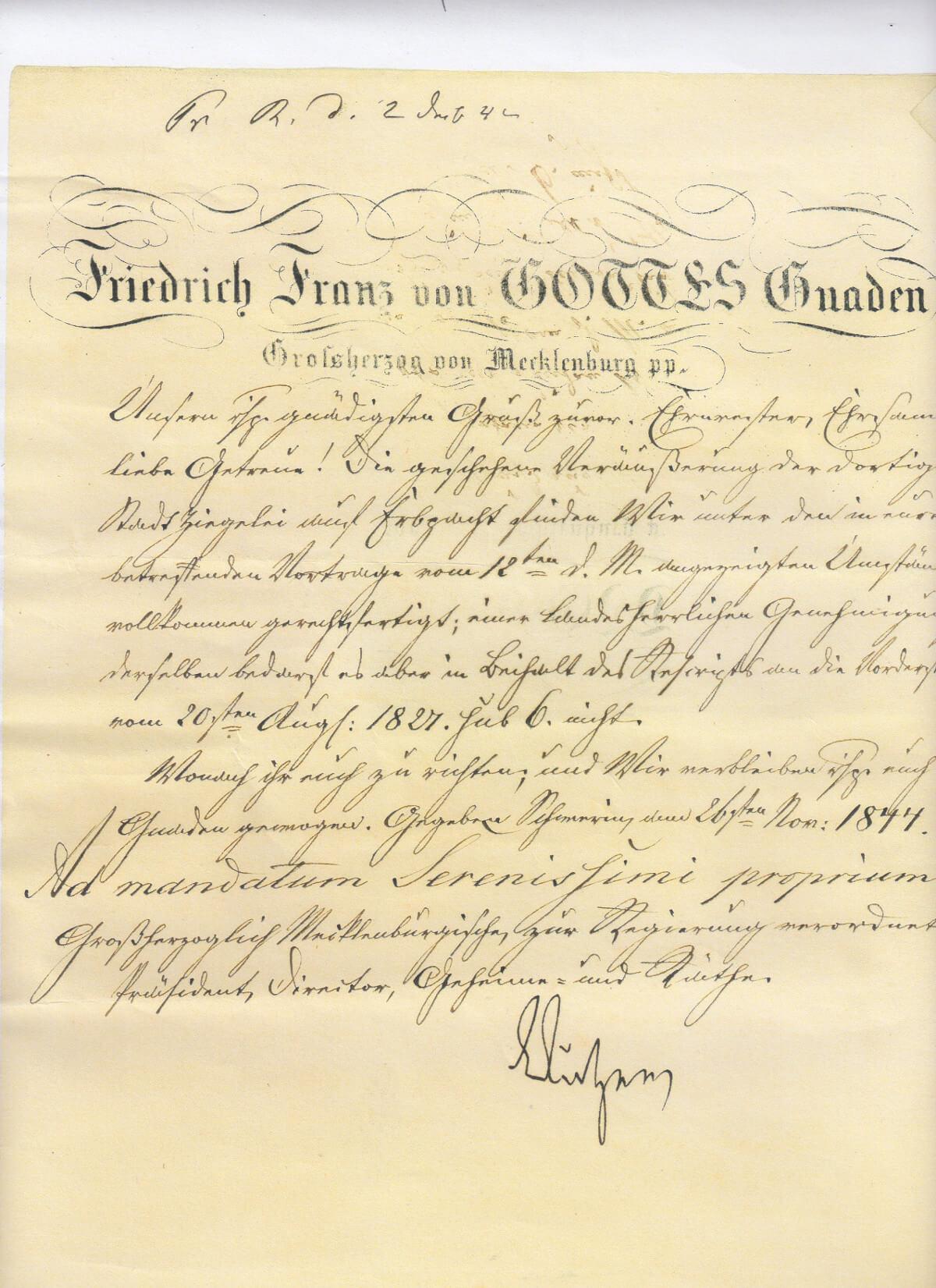 Pachtkaufbestätigung von Friedrich Franz II. Großherzog von Mecklenburg. | Ferienwohnungen Müritz - Alte Ziegelei